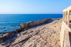 Ancient Phoenician wall, in Batroun, Lebanon stock image