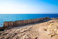 Ancient Phoenician wall in Batroun, Lebanon royalty free stock photography