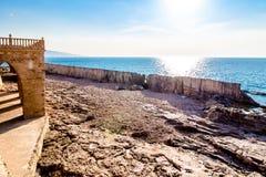 Ancient Phoenician wall in Batroun, Lebanon royalty free stock photo