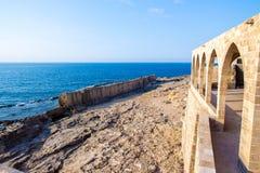 Ancient Phoenician wall in Batroun, Lebanon royalty free stock image