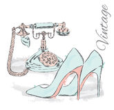 Ancient phone and high heels. Vector illustration for greeting card or poster. Stock Photos
