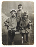 Ancient Photo Of Sisters And Brother Stock Photography