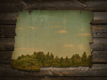 Ancient photo at wooden wall Stock Photos