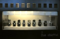 Ancient photographic cameras Stock Images