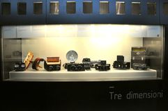 Ancient photographic cameras at the museum Royalty Free Stock Images