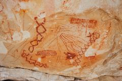Ancient pictographs in Grand Canyon. Ancient Indian stone pictographs in the Grand Canyon, USA Royalty Free Stock Image