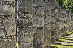 Ancient pillars built by the Mayas Royalty Free Stock Photography