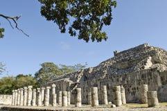 Ancient pillars built by the Mayas Royalty Free Stock Image