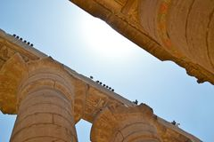 Ruins of the Temple of Karnak. Columns close view stock photo