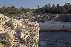 Ancient pillars of ruined roman temple in Beit Shean Scythopoli. View to rich archeological site in Beit Shean Scythopolis, Israel Stock Images
