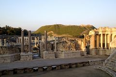 Ancient pillars of ruined Romans amphitheatre Royalty Free Stock Photography