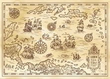 Ancient pirate map of the Caribbean Sea with ships, islands and fantasy creatures. Pirate adventures, treasure hunt and old transportation concept. Hand drawn Royalty Free Stock Photography