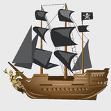 Ancient pirate ship with black sails and flag Royalty Free Stock Images