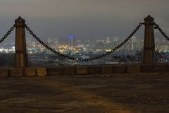 Ancient Podil district and modern Obolon district at background. View from the observation deck. Ancient Podil district and modern Obolon district at background Royalty Free Stock Photo