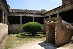 Ancient Pompeii. La Villa dei Misteri, Pompeii, ancient town in Italy, near Naples royalty free stock photo