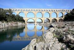 Ancient Pont du Gard Aqueduct, South France Stock Photo