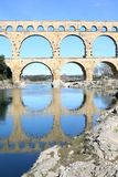 The ancient Pont du Gard Bridge in South France Stock Photo