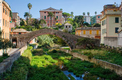 Ancient Ponte Romano bridge in Genoa Nervi Royalty Free Stock Image