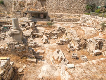 Ancient Pool of Bethesda ruins. Old City of Jerusalem Stock Photos
