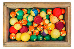 Ancient pool billiard balls in a wooden box Stock Images