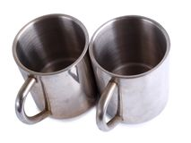 Iron tea cups three. Ancient porcelain tea cups on a white background royalty free stock photo