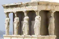 The ancient Porch of Caryatides in Acropolis, Athens, Greece Stock Image