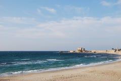 Ancient port Caesarea. On the Mediterranean coast of Israel Royalty Free Stock Photo