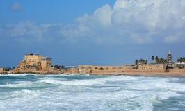 The ancient port at Caesarea Stock Image