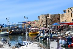 Ancient port and marina, old city of Acre, Israel. ACRE, ISRAEL - April 11, 2019: view on marina with yachts and fishing port in old city Acre, Israel royalty free stock photos