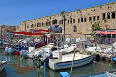 Ancient port and marina, old city of Acre, Israel. ACRE, ISRAEL - April 11, 2019: view on marina with yachts and fishing port in old city Acre, Israel stock images