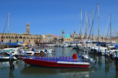 Ancient port and marina, old city of Acre, Israel. ACRE, ISRAEL - April 11, 2019: view on marina with yachts and fishing port in old city Acre, Israel royalty free stock images