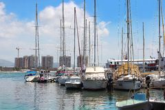 Ancient port and marina, old city of Acre, Israel. ACRE, ISRAEL - April 11, 2019: view on marina with yachts and fishing port in old city Acre, Israel stock photography