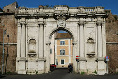 Ancient Porta Portese Gate in Rome Stock Photo