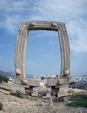 Ancient Portara in Naxos island Stock Photos
