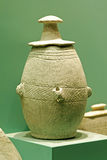 Ancient pot with lid. An ancient pot with lid displayed in sharjah archaeological museum Stock Photography