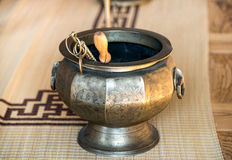 Ancient pot, used for fire prevention in a palace Stock Photos