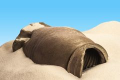 Ancient pottery in the desert Royalty Free Stock Photography