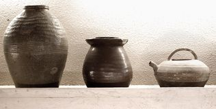 Ancient Pottery Display Royalty Free Stock Images