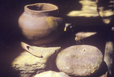 Ancient pottery, Tasalagi Village in the Cherokee Nation, OK Royalty Free Stock Photos