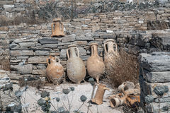 Ancient pottery wine amphora found in the ruins on the island of Royalty Free Stock Photography