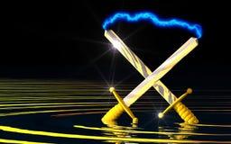 Ancient Power. Brilliant clash of energy swords Stock Photos