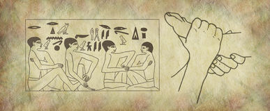 The Ancient Practise of Reflexology Wall Art. Pair of female feet on right with Egyptian hieroglyphic panel of foot massage scene on parchment stone effect stock illustration
