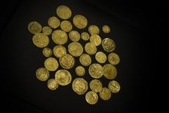 Gold Coins of pirates. Ancient and precious priceless gold coins Royalty Free Stock Image