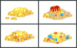 Ancient Precious Shiny Treasures in Big Heaps Set vector illustration