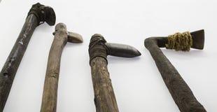 Ancient handmade prehistoric weapons. Ancient prehistoric weapons made by hand, detail of prehistoric art stock photo