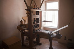 Ancient printing press. Made of wood on display on town Vrbnik at Croatian island Krk. Vrbnik was place where some of the first Croatian books were printed Royalty Free Stock Images