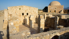 Ancient prison. Inside the Fortezza fortress, Rethymno, Crete royalty free stock image