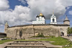 Ancient Pskov kremlin view Royalty Free Stock Images
