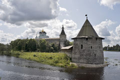 Ancient Pskov land with fortress Stock Photo