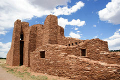 Ancient Pueblo Indian Ruins. Ruins of the prehistoric Native American village and chapel in New Mexico Royalty Free Stock Image